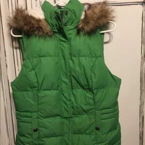 Green Tea fur lined vest
